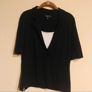 Jones New York layered knit blouse size L